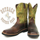 Justin Brown/Green Stampede Square Toe Workboot WK4687