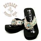Gypsy Soule Womens Indian Crystal Embellished Flip Flops