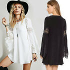 Women Casual Chiffon Dresses Bell Sleeve Cocktail Short Mini Dress Lace Dress