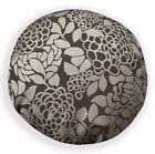 Ng20n Dark Brown Tan Flower Thick Linen Round Cushion/Pillow Cover Custom Size