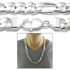 925 Sterling Silver Men's Figaro Link Chain Necklace 11mm 300