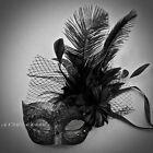 Venetian Brocade Lace Ostrich Feather Masquerade Costume Prom Wedding Party Mask