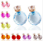 Cute Hot Women Faceted Crystal Resin Double Sided Earrings Two Ball Ear Studs
