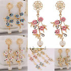 Sweet New Fashion Crystal Long Leavrs Flower Dangle Earrings Stud Gold Plated