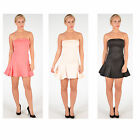 Women Ladies Bralet Bandeau Strapless Boobtube Skater Mini Party Dress UK 8-14