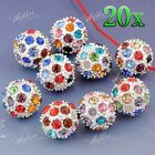 5x Silver Plated Crystal Disco Spacer Ball Bead Rhinestone For Bracelet DIY