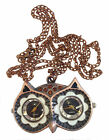 Antique Two Dials/Time Zones Owl Pendant Necklace Chain Watch -ANOwl1