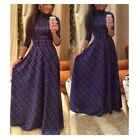 Fashion Women Long Sleeve Plaids & Checks Print High Waist Long Maxi Dresses S