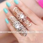 Fashion Crystal Gemstone Hollow Metal Guard Shield Moveable Full Double Ring US8