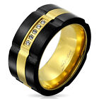 Stainless Steel Men's 0.05 Carat CZ Black & Gold Spinning Band Ring 9-13