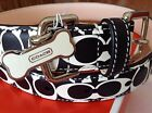 NEW COACH Rare.BLACK & WHITE C PRINT 61917 EXTRA SMALL LEATHER DOG COLLAR XS