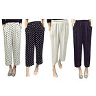 Women Lady Summer Flattering Wide Leg Capri Pants Casual Stretch Palazzo Trouser