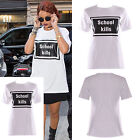 Women Ladies Celebrity Rihana Inspired School Kills Slogan Print T Shirt Top