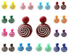 Hot Cute Women Round Swirl Double Side Earrings Ear Studs Pierced Charms Jewelry
