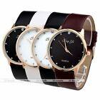 Lady Crystal Round Golden Case Analog Pu Leather Wristband Quartz Watch Jewelry