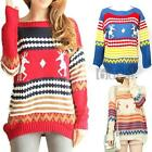 Women Knitted Sweater Jumper Pullover Top Round Neck Long Sleeve Christmas S