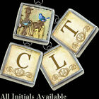 Letters Initials Monogram Blue Bird Nest Necklace Silver Pewter Charm Pendant