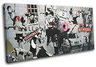 Montage Collage Banksy Street SINGLE CANVAS WALL ART Picture Print VA