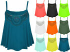 Womens Sleeveless Jersey Top Ladies Studded Cami Flare Vest Casual Size 8-14