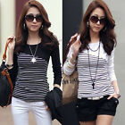 Women's Striped Tops Casual Blouse Ladies Long Sleeve T-Shirt  Noble Fashion