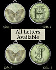 "Letters Initial Monogram Butterfly Green Necklace 1"" Silver Pewter Charm Pendant"