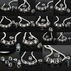 Silver Plated Black A-Z Initial Alphabet Letter Loose Beads Fit Charms Bracelet