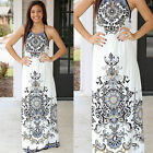 Women Peasant Ethnic Beach Floral Boho Party Strap Mexican Gypsy Long Dress S-XL