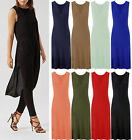 Ladies Jersey Racer Back Muscle Vest Maxi Womens Double Side Split T-Shirt Dress