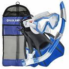 US Divers Adult Travel Snorkel Set Combo SILICONE MASK / SNORKEL/ FINS/FREE BAG