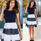 Women Patchwork Empire Navy blue Striped A Line Casual Slim Chiffon Dress N776