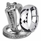 Hot Nice Hers .925 Sterling Silver His Tungsten Engagement Wedding Ring Band Set