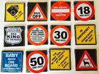 NOVELTY CAR WINDOW SIGNS ~ METAL TRAFFIC SIGN