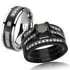 4 Pc Hers Sterling Silver 2.94 CTTW His Titanium Black Wedding Ring Bands Set