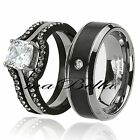 His Titanium & Hers Black Stainless Steel Wedding Engagement Ring Band Set
