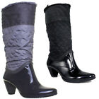 10348 Womens Knee High Wellington Boots Round Toe Block Heel Side Zip Ladies Wel