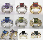 10 colors! noblest 8*10mm green/blue/red/purple/black zircon 18KGP ring #7,8,9