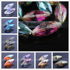 2pcs 36x16mm Big Rugby Oval Faceted Crystal Glass Charm Loose Spacer Beads