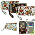 Women's Cute Owl Wristlet Strap Card Wallet Case Cover for Smart Cell Phone