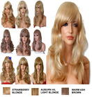BLONDE Wig Streak Natural Long Curly Straight Wavy Synthetic Wig Women Fashion U