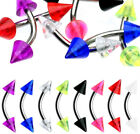 1,2,8 Piece lot- Color Spiked Ends/Stainless Steel Curved Barbell/16 Gauge(CA02)