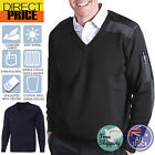 Mens KNITTED EPAULETTE SECURITY JUMPER Wool JERSEY PULLOVER V Neck PILOT