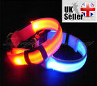 LED Dog Pet Collar Nylon Plain Tag Flashing Luminous Adjustable Safety Light