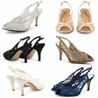 WOMENS LADIES WEDDING BRIDAL PROM SHOES HIGH HEEL ANKLE STRAPPY SANDALS SIZE