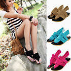 Fashion Women Summer Casual Thong Sandales Fabric Flip Flop Slingback Flat Shoes