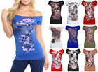 Ladies Off Shoulder Glitter Butterfly Top Ladies Rose Floral Batwing Size 8-22