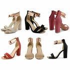 WOMENS LADIES HIGH HEEL STRAPPY SHOES PEEP TOE METAL CUFF ANKLE STRAP SANDALS