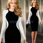 Womens Vintage Rockabilly Stylish Patchwork Pinup Celeb Party Pencil Dress N752