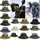 Mens Military Bucket Sun Hat Boonie Hunting Fishing Outdoor Wide Brim Canvas Cap