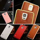 Luxury Leather Back + Metal Aluminum Bumper Frame Cover Case for Samsung Galaxy