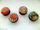 Ear Tunnel Plug Stretcher Acrylic Screw On 4 Comic Book Word Designs 6mm to 25mm